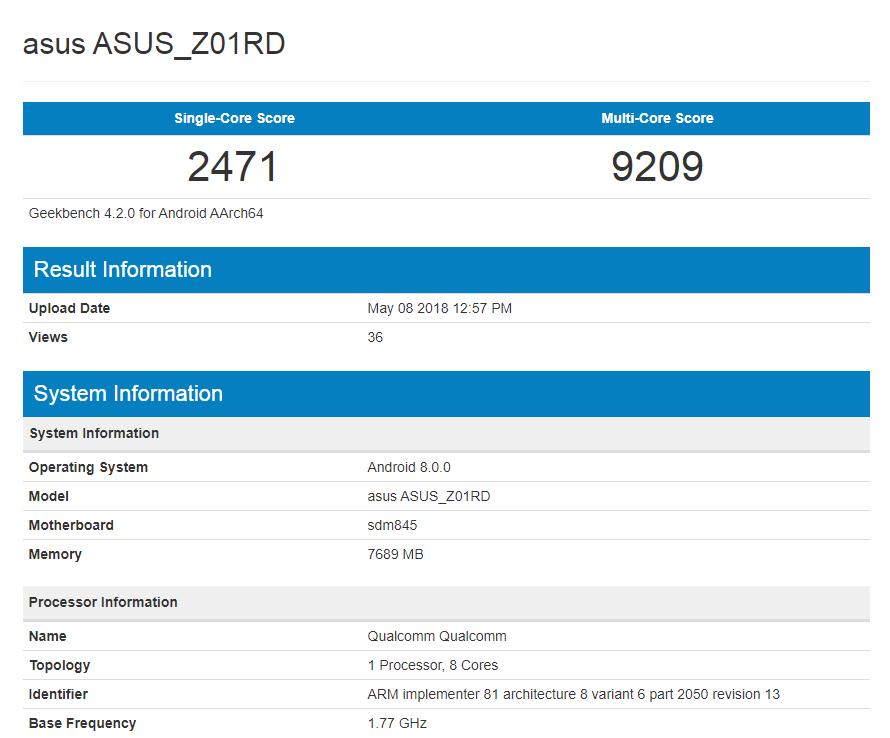 Смартфон Asus Zenfone 5Z демонстрирует впечатляющий результат в GeekBench