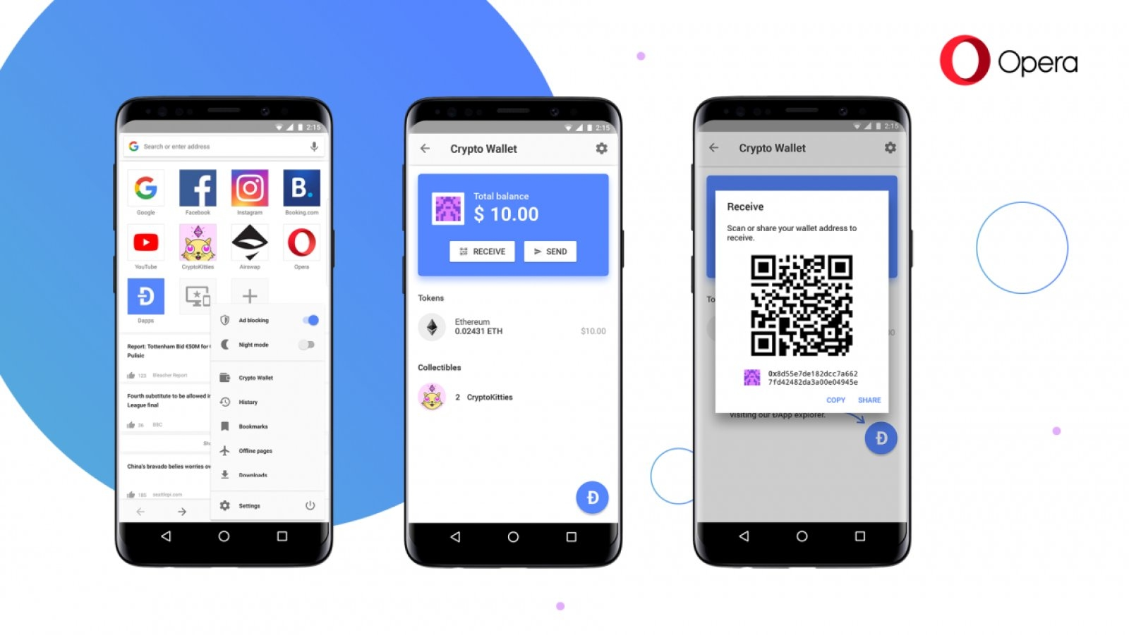 Вмобильный браузер Opera добавили интегрированный криптовалютный кошелек