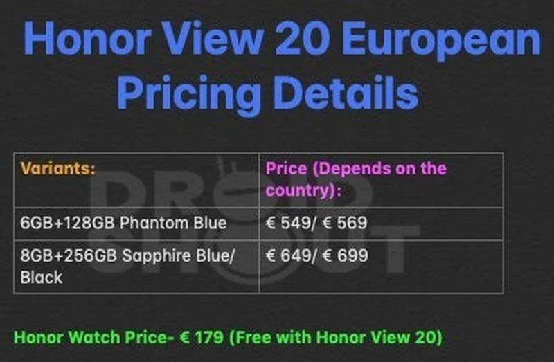 Honor View 20: цена, подарки иварианты конфигурации