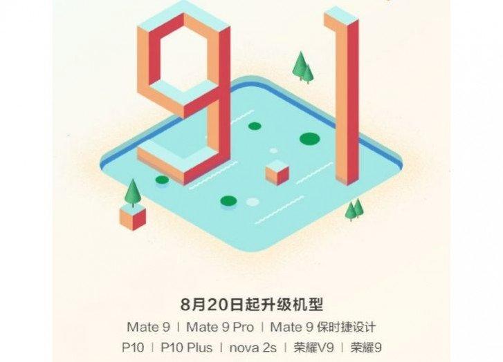 Huawei Mate 9, P10, Nova 2s, Honor 9 и еще четыре смартфона