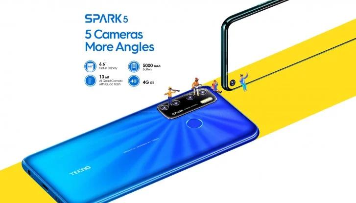Премиальный дизайн и квадрокамера в смартфоне за 125 долларов. Представлен смартфон Tecno Spark 5