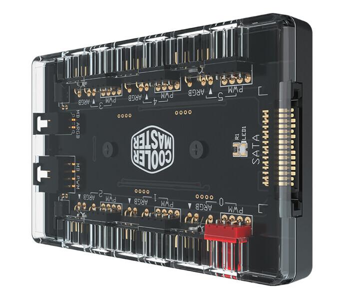 Концентратор Cooler Master MasterFan ARGB + PWM Hub превращает один разъем PWM и один ARGB в шесть разъемов каждого вида