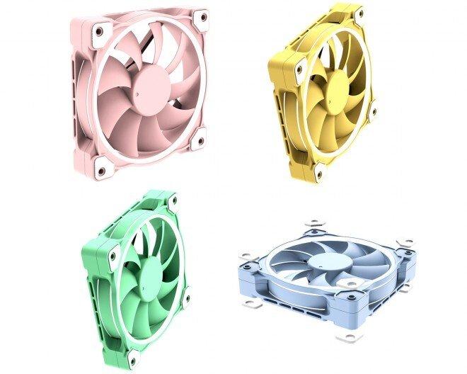 Четыре варианта вентилятора ID-Cooling ZF-12025 окрашены в непривычные цвета