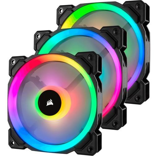 Комплект вентиляторов Corsair LL120 RGB: 3 вентилятора 120 мм с многозонной RGB-подсветкой и управляющий контроллер