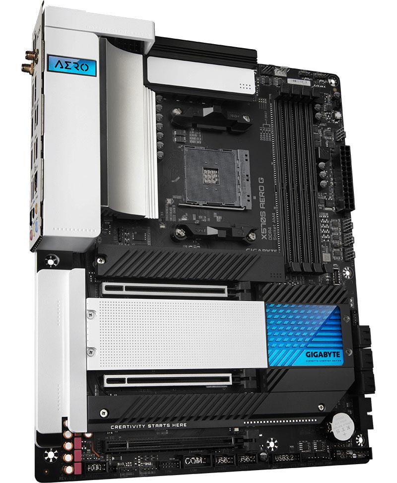 Материнская плата Gigabyte X570S Aero G на чипсете AMD X570: стильный дизайн, 4 слота под накопители М.2, COM-порт