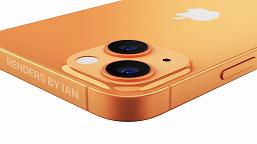 iPhone 13 в золотом и синем позирует на качественных и больших рендерах