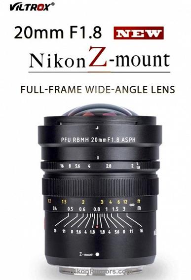 Объектив Viltrox PFU RBMH 20mm F1.8 ASPH доступен в варианте с креплением Nikon Z