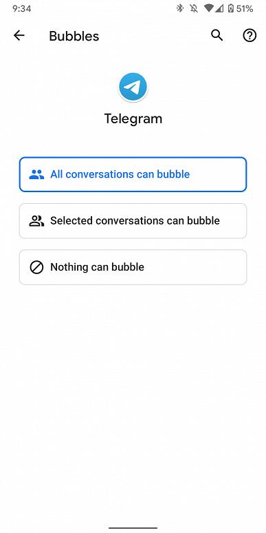 «Пузырьки в Telegram. Приложение получило поддержку функции Bubbles из Android 11