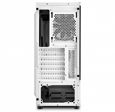Корпус Sharkoon RGB Slider White окрашен в белый цвет и украшен адресуемой подсветкой