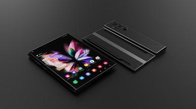 Так может выглядеть смартфон Samsung Galaxy ZFoldNote. Модель создана на основе патентов компании