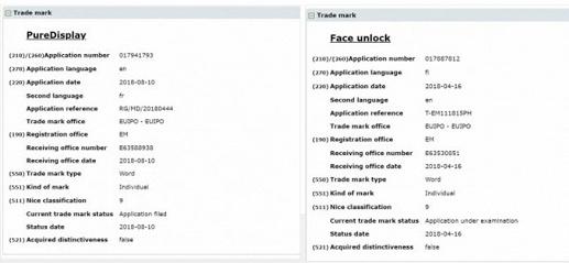 HMD зарегистрировала торговые марки PureDisplay и Face Unlock