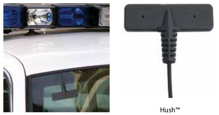 Малозаметную антенну PCTEL Hush можно с равным успехом закрепить на автомобильном стекле, распределительном щитке или на жилете полицейского