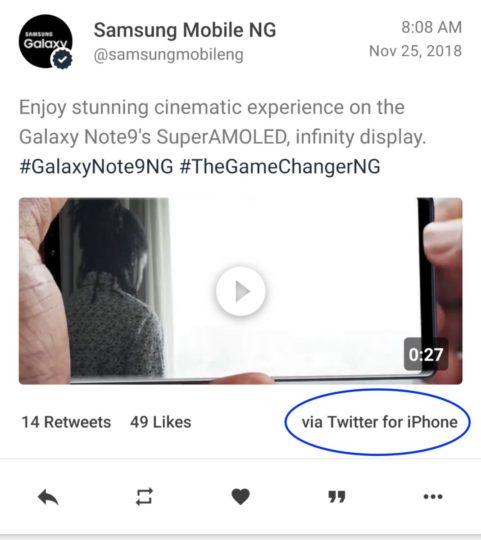 Официальный Twitter-аккаунт Samsung ведется со смартфона iPhone
