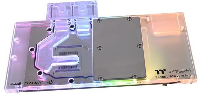 Водоблок Thermaltake Pacific V-RTX 2070 Plus предназначен для 3D-карты Asus ROG Strix RTX 2070