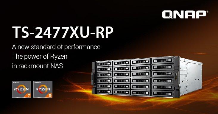 Стоечные хранилища QNAP TS-2477XU-RP построены на процессорах AMD Ryzen