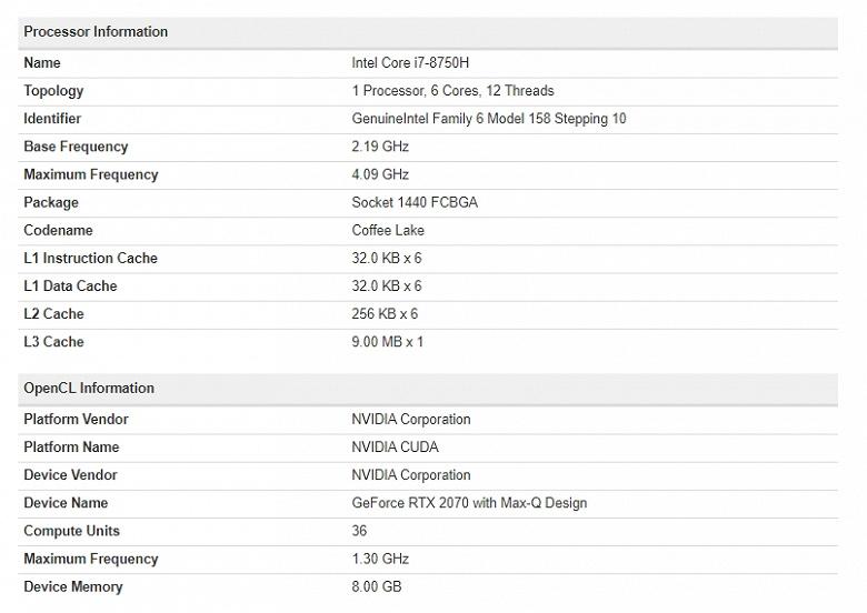 Подтверждены характеристики мобильной видеокарты GeForce RTX 2070 — действительно тот же GPU, что и у настольной
