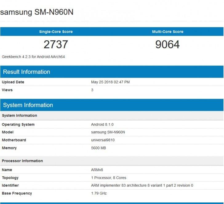 Набенчмарке Geekbench «засветился» новый Самсунг Galaxy Note9 сExynos 9810