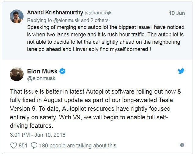 Tesla получит функции полностью самоуправляемого движения в августе