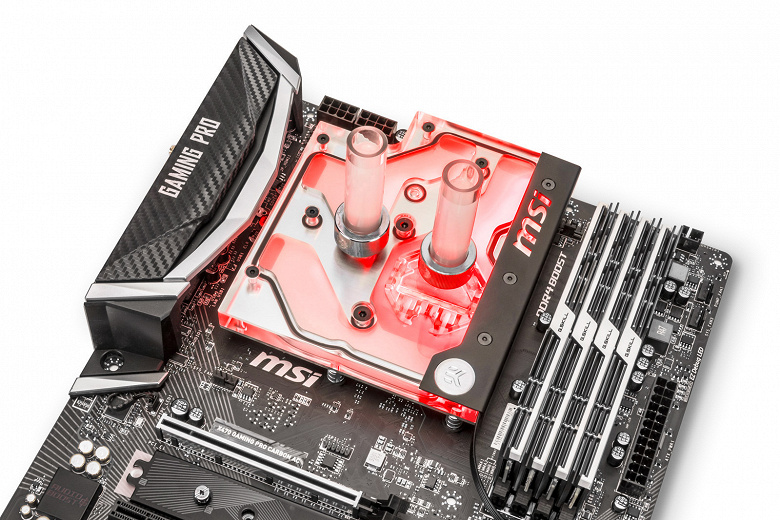 Подсветка водоблока EK Water Blocks EK-FB MSI X470 Pro Carbon RGB Monoblock совместима с системой управления MSI Mystic Light