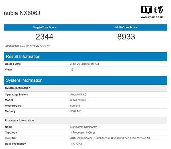 Флагманский смартфон Nubia Z18 засветился вбенчмарке