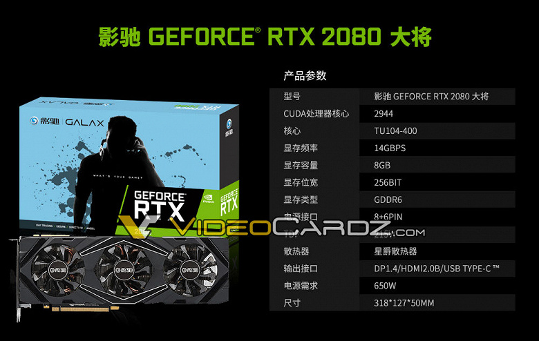 Galax GeForce RTX 2080: характеристики