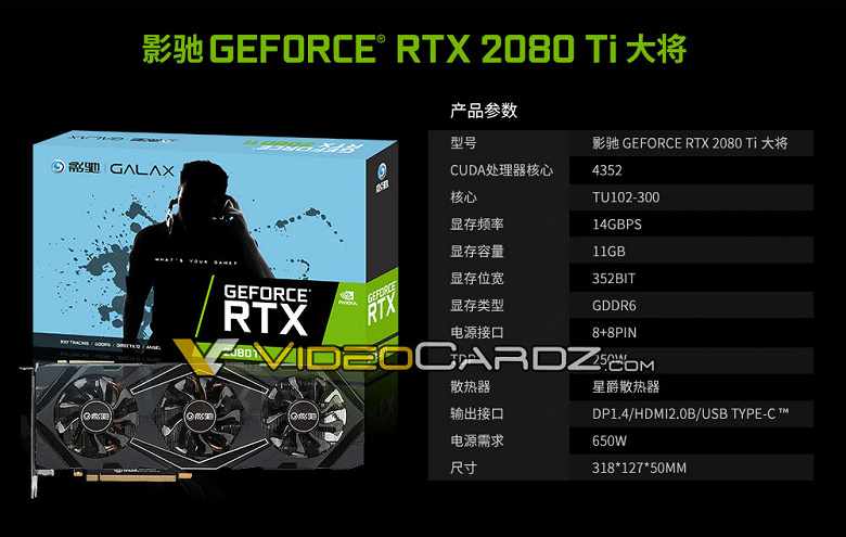 Galax GeForce RTX 2080 Ti: характеристики