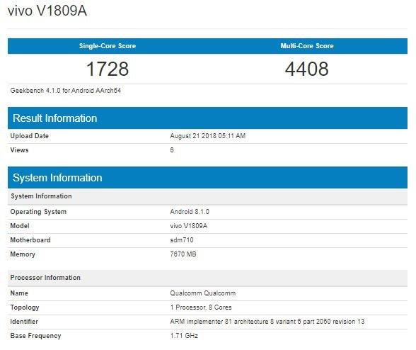 Vivo X23 отметился в базе Geekbench
