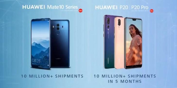 Продано 20 млн смартфонов серий Huawei P20 и Mate 10