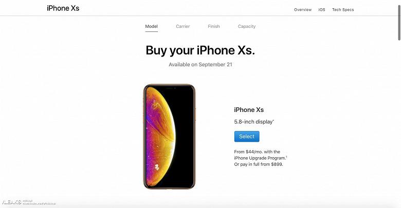Iphone Xs замечен на официальном сайте Apple