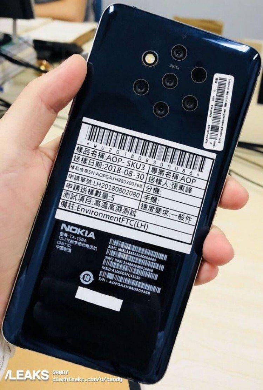 В основную камеру Nokia TA-1094 вошло ни много ни мало — 5 объективов