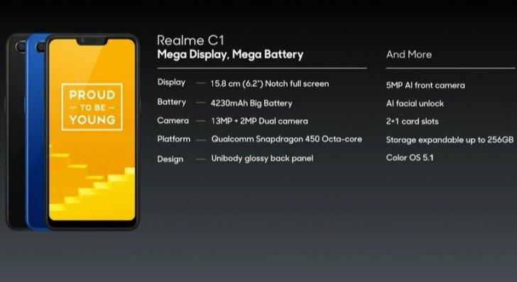 Realme C1 — смартфон стоимостью менее 100 долларов с платформой Qualcomm, большим экраном и ёмким аккумулятором