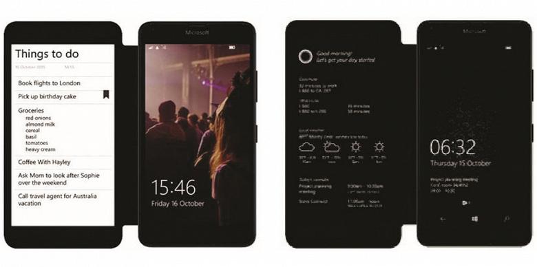 Microsoft работала над смартфоном, который был оснащен дополнительным экраном в чехле-обложке
