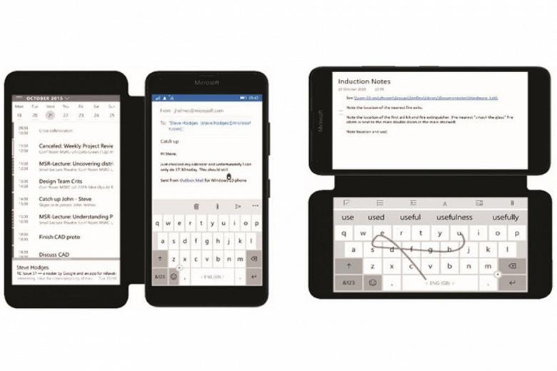 Microsoft работает над смартфоном, который оснащен дополнительным экраном в чехле-обложке