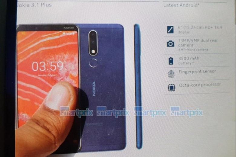 Смартфон Nokia 3.1 Plus получил шестидюймовый дисплей без брови и сдвоенную камеру