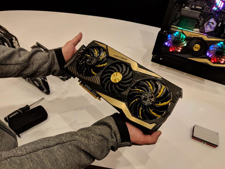 Огромная видеокарта MSI GeForce RTX 2080 Ti Lightning впервые засветилась на «живых» фотографиях