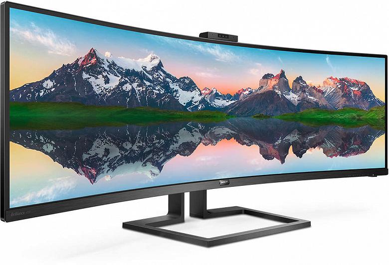 Размер экрана монитора Philips 499P9H равен 49 дюймам, соотношение сторон экрана — 32:9