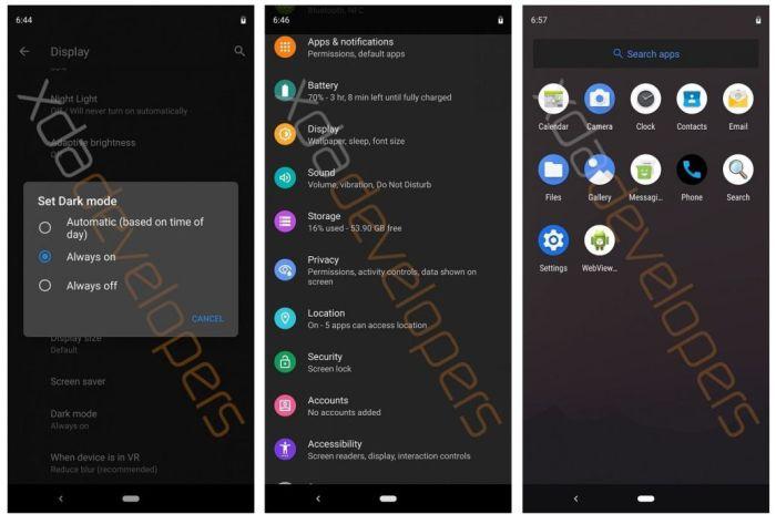 Ранняя сборка Android 10 Q продемонстрировала тёмную тему по всей системе