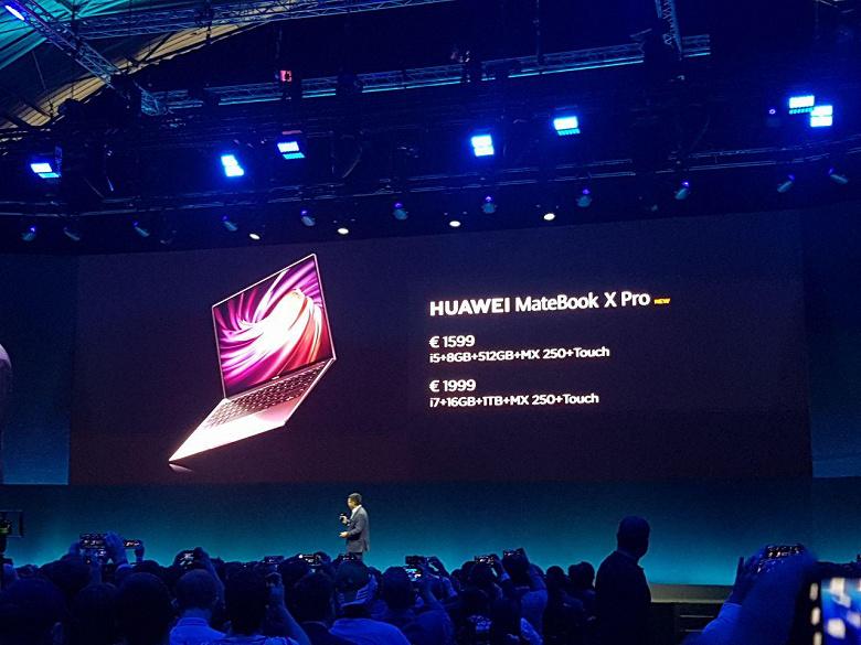 Huawei представила ноутбук MateBook X Pro нового поколения: платформа Intel Whiskey Lake-U, GPU GeForce MX250 и технология OneHop за 1600 евро