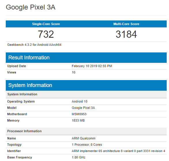 Смартфон Google Pixel 3A с Android 10 не радует производительностью