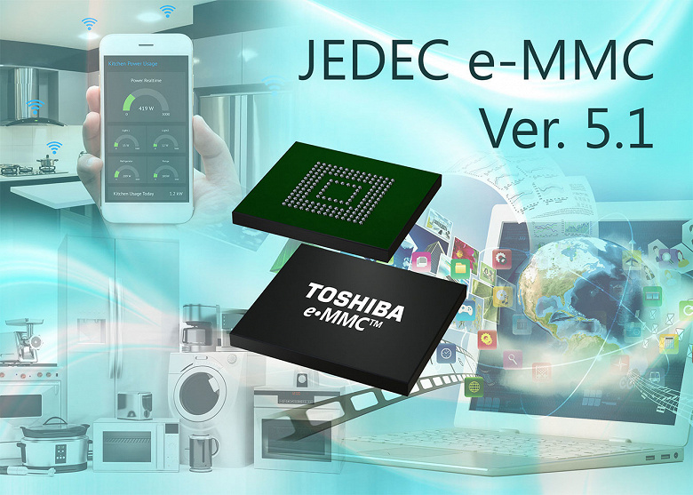 Toshiba представляет встраиваемые накопители, соответствующие спецификации eMMC 5.1