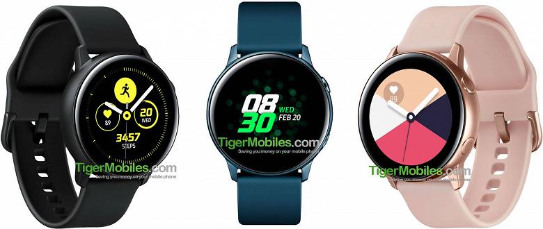 Умные часы Samsung Galaxy Sport без вращающегося безеля показаны в трёх цветах
