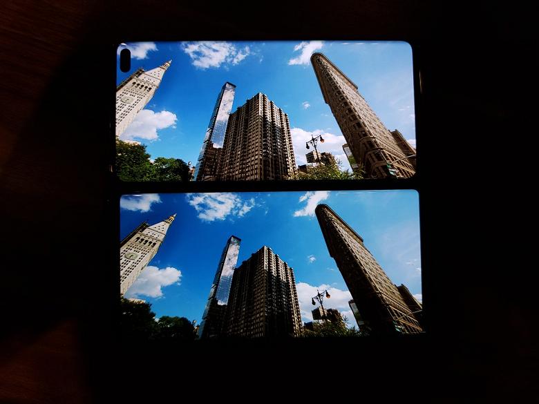 Фото наглядно подтверждает превосходство экрана Samsung Galaxy S10+ над дисплеем Samsung Galaxy Note 9