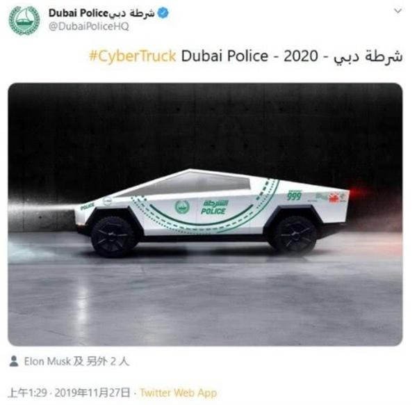 Полиция Дубая стала в очередь за Tesla Cybertruck