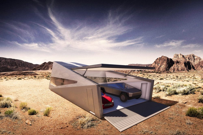 Кибербункер для Кибертрака. Дизайнеры нарисовали идеальный гараж для Tesla Cybertruck
