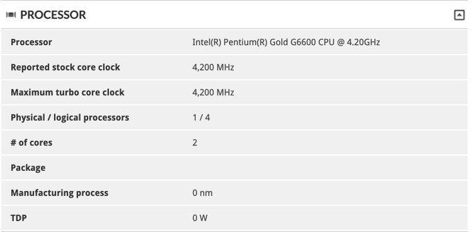 Intel выжала еще 200 МГц из Pentium Gold G5620, получился Pentium Gold G6600