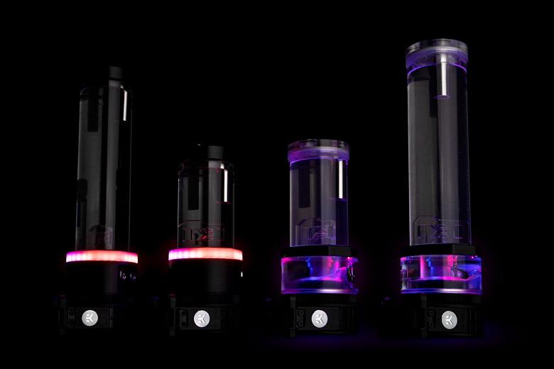 EK-Quantum Kinetic TBE D5: резервуары, объединенные с помпами и украшенные адресуемой подсветкой