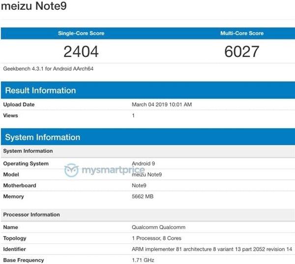 Главный конкурент Redmi Note 7 Pro протестирован в Geekbench: 6 ГБ оперативной памяти и Android 9.0