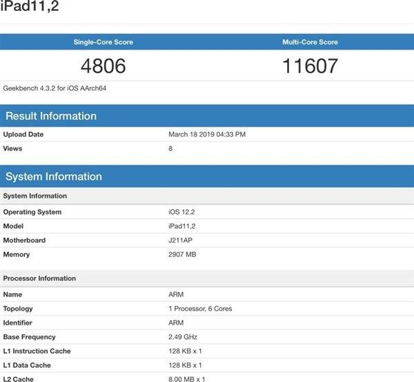 iPad Air третьего поколения превзошел iPhone XS в бенчмарке Geekbench