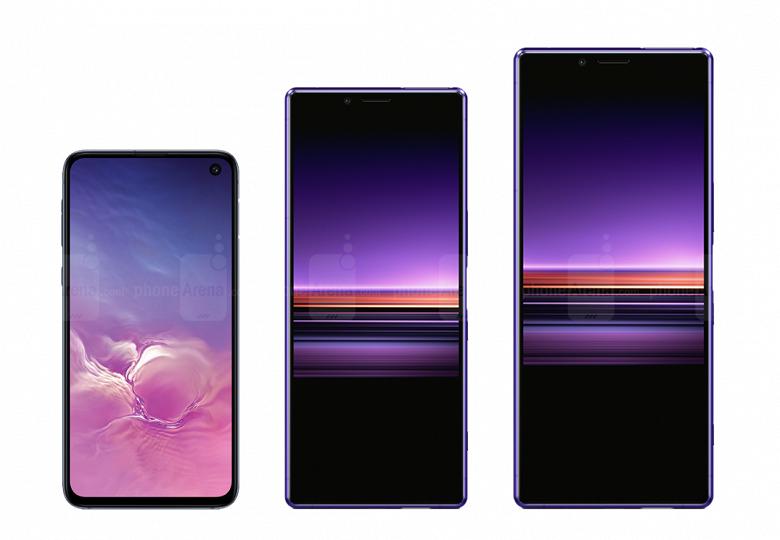 Сила в высоте: изображение наглядно демонстрирует разницу между огромным смартфоном Sony Xperia 10 Ultra и компактным Samsung Galaxy S10e