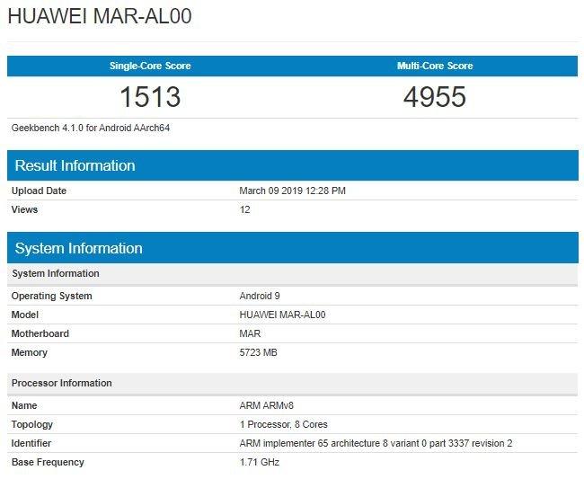 Смартфон Huawei Nova 4e построен на платформе Kirin 710